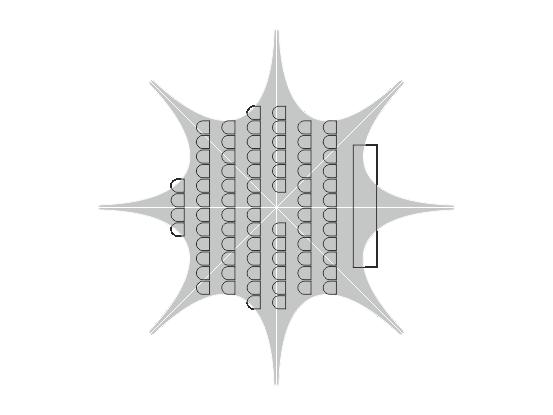 Anordnung mit Stühlen – 80–100 Sitzplätze